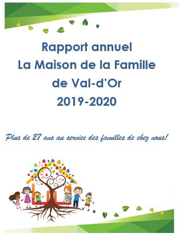 Rapport annuel La Maison de la Famille de Val-d'Or 2019-2020